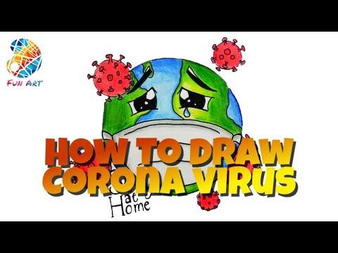 Gambar Virus Corona, Menggambar Virus Corona, Cara Menggambar ...