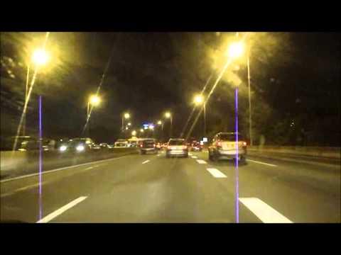 MARTINIQUE : driving through Fort-de-France city, by night / routes de Fort-de-France la nuit