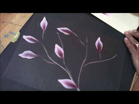 One stroke Painting- Pink Flowers On Stem