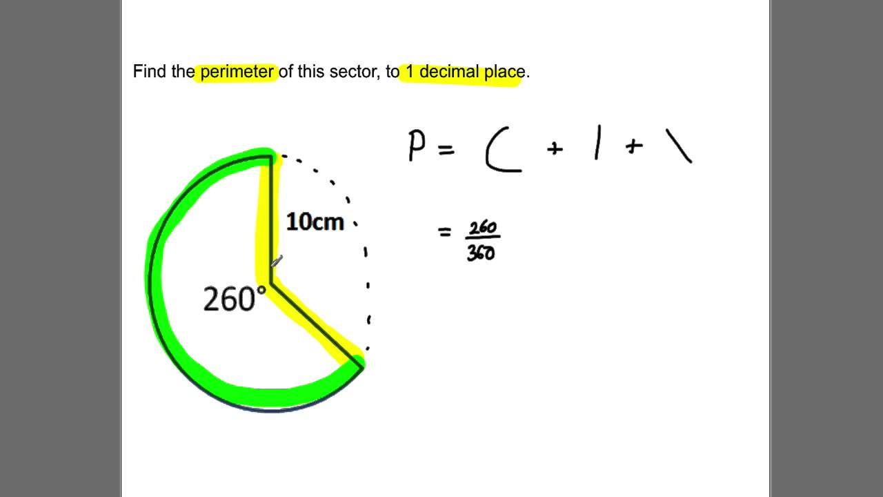 explain how to work out the perimeter of a sector