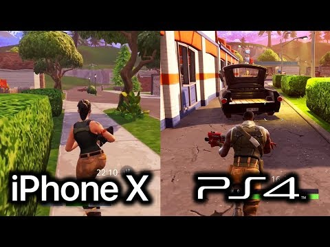Fortnite Mobile IPhone X Vs Fortnite PS4 Gameplay! (iOS Vs Playstation 4)