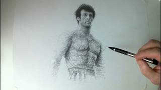 Sylvester Stallone, Rocky Balboa Time lapse Drawing. Rocky 4 1985
