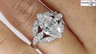 GIA D-VS2 Art Deco 3.00ct Old OVAL Moval Cut Diamond Engagement Platinum Antique Vintage Ring