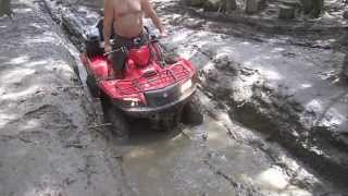 2012 Suzuki King Quad 500 Stuck in the Mud - ATV Trails Charleston Maine