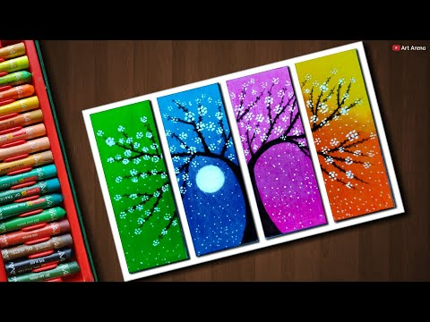 Flower Tree drawing with Oil Pastels - step by step