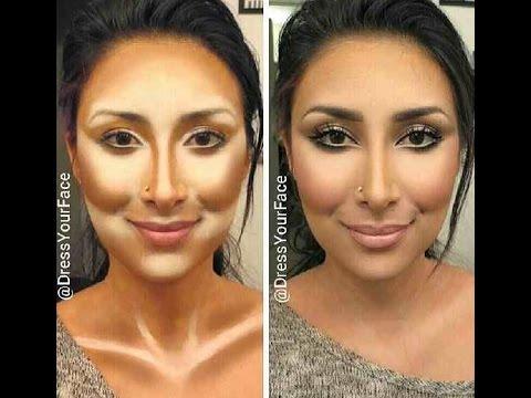 Contouring & Highlighting- Kim Kardashian\'s Makeup secret! - YouTube