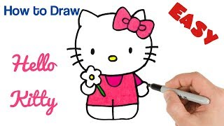 How to Draw Hello Kitty | Cartoon Drawings for Kids