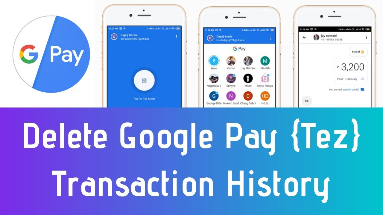 How To Delete Google Pay Transaction History - Clear Google Pay (Tez)  Transactions