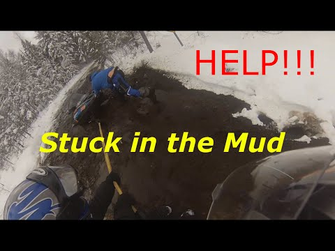 Snowmobile stuck in mud sinkhole (Rescue Op) 1/1/15 Eagle River WI