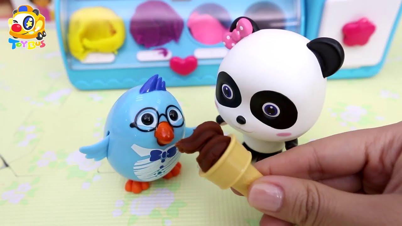 アイスクリームを作ってみよう★英語で色とくだものを学ぼう❤トイバス(ToyBus) キッズ おもちゃアニメ