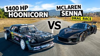Ken Block's 1,400hp AẄD Ford Mustang Hoonicorn Vs a McLaren Senna Merlin // Hoonicorn Vs the World