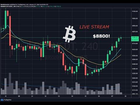 Stocks Down - Crypto Up - Bitcoin $8800 - Live Stream Market Update - BTC BCH EOS ETC GOLD SPY