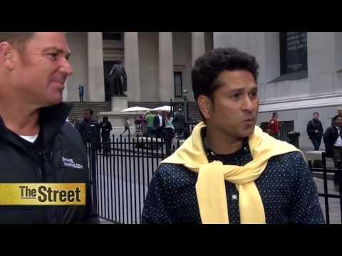 Cricket Gods Sachin Tedulkar and Shane Warne Visit Wall Street