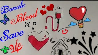 BLOOD DONATION DRAWING STEP BY STEP || Donate Blood Save Life || Blood Donate Poster ||