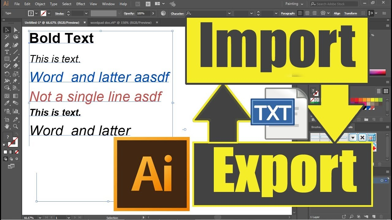 #Ai-38 Text/pdf/ms-word- Import/Export in Illustrator | Hindi Tutorial  Class for beginners
