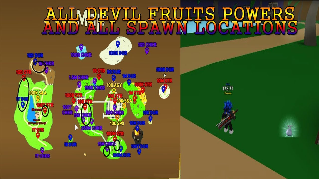 All Fruits Showcase And All Spawn Locations Anime Fighting