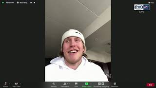 Patrik Laine jokes that the Blue Jackets offense doesn't need his help