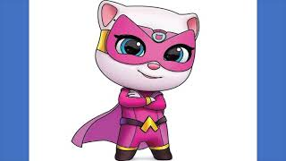 How to draw Super Angela from Talking Tom Hero Dash Easy Drawing