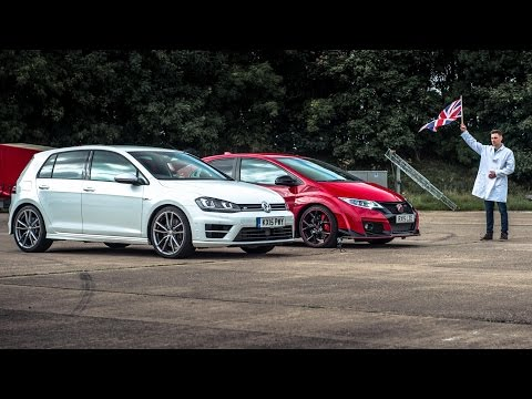 Honda Civic Type R Vs VW Golf R - Top Gear: Drag Races