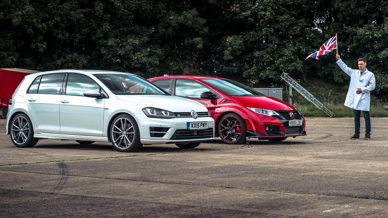 Honda Civic Type R vs VW Golf R | Top Gear: Drag Races ...
