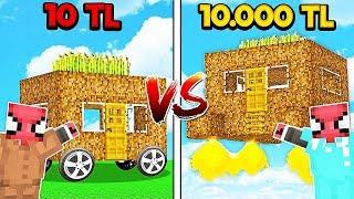 10 TL FAKİR YÜRÜYEN EV VS 10.000 TL ZENGİN UÇAN EV! 😱 - Minecraft