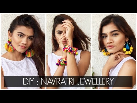 DIY NAVRATRI JEWELLERY | Pom Pom Earrings & Bangles / Tassel Earrings | Shreeja Bagwe