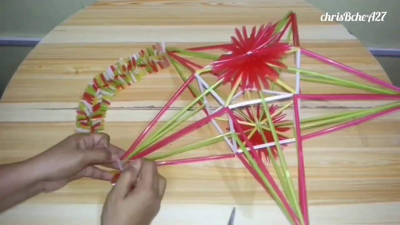DIY# 77 Design #3 Star/Xmas Lantern/Parol Made Of Drinking Straw #5 ... for Straw Lantern  192sfw