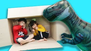 상상을 하니 박스에서 거대 공룡이 나타났어요! Yuni Pretend Play with Magic Transform Imagination Box Kids Toys - 로미유브이로그