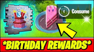 Fortnite BIRTHDAY Challenges & ALL FREE REWARDS! (Dance in front of different Birthday Cakes & More)