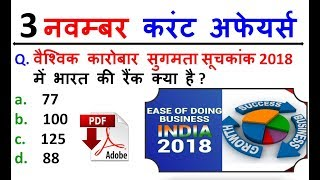 3 November 2018 Daily Current Affairs in HINDI | For - IAS , PCS , SSC CGL/CHSL , BANK , RAILWAY