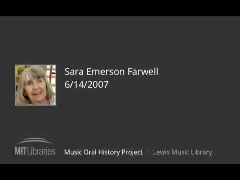 Sara Emerson Farwell interview, 6/14/2007