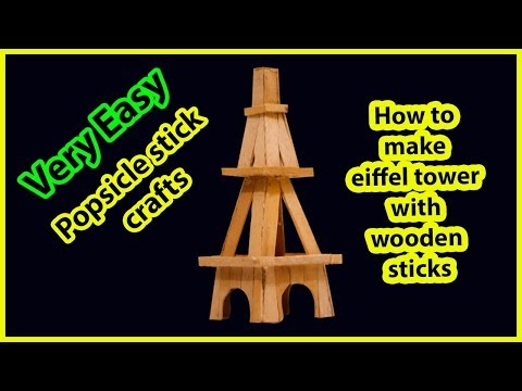 How to make eiffel tower with wooden sticks Diy crafts project ideas - ice cream stick craft ideas