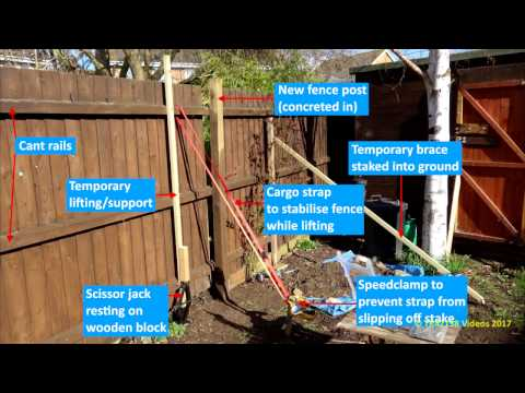 How to repair garden fence using a scissor jack & cargo strap