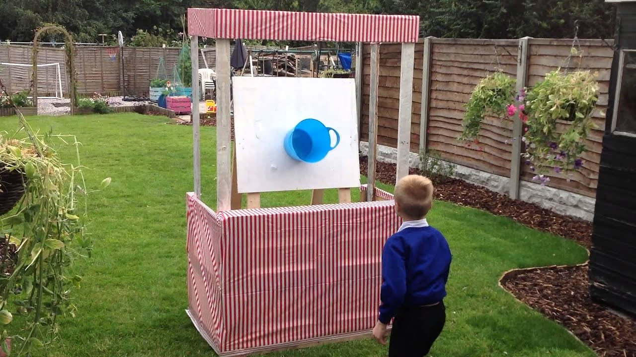 DIY Ball amp Bucket Carnival Game in Pallet Stall