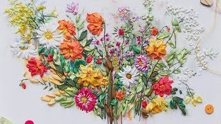 Вышивка лентами Краски Лета Panna/ Embroidery ribbons