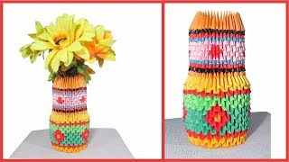 How To Make Paper Flowers Vase _ 3D Origami Vase & Easy Paper Craft for Decor