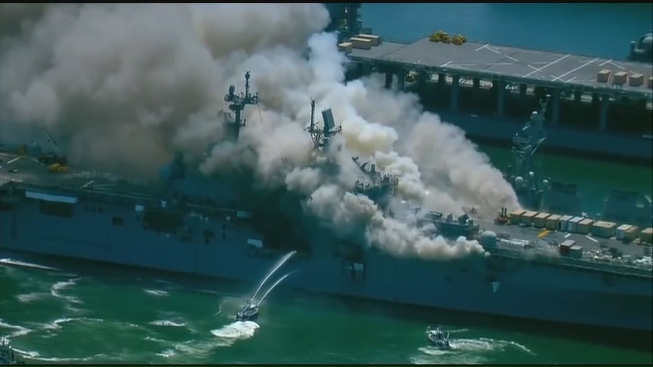USS Bonhomme Richard explodes, catches fire in San Diego: raw video