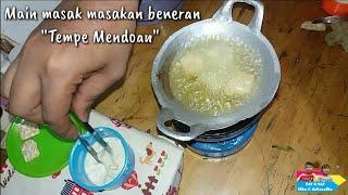 "Miniature Cooking ""Fried Tempe"" Indonesian tiny food || Main masak masakan beneran ""Tempe Mendoan"""