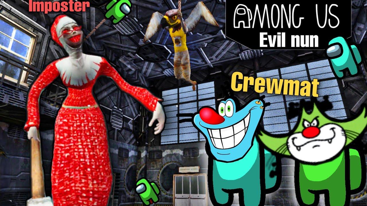 Imposter Evil Nun Killed Oggy...😲 | Among Us Evil Nun mod with Oggy and Jack