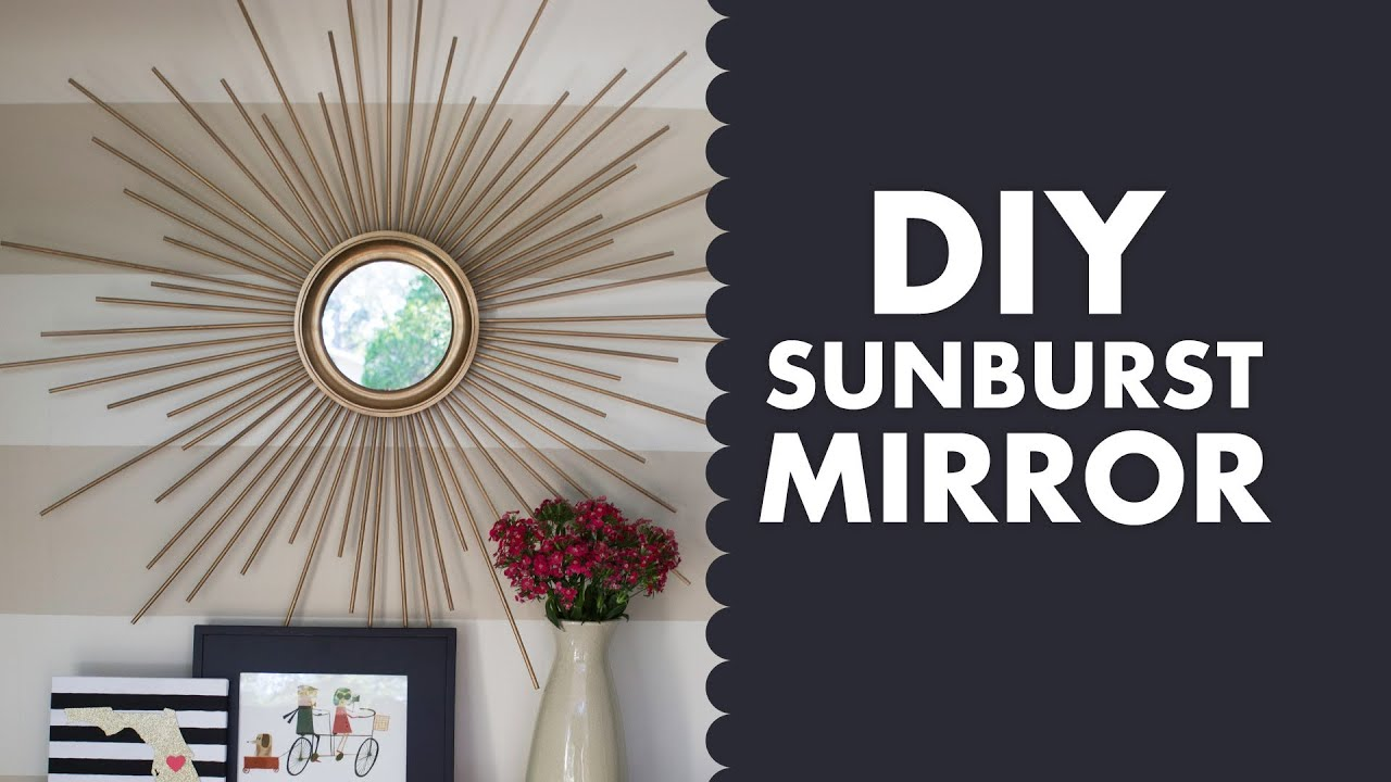 DIY Gold Mid Century Modern Sunburst Mirror   YouTube