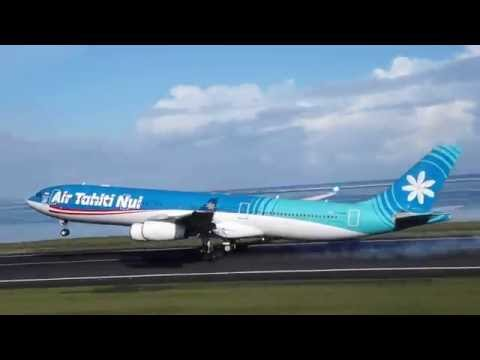 AIR TAHITI NUI 7 MORNING LANDING IN PAPEETE FROM LAX   A340-300