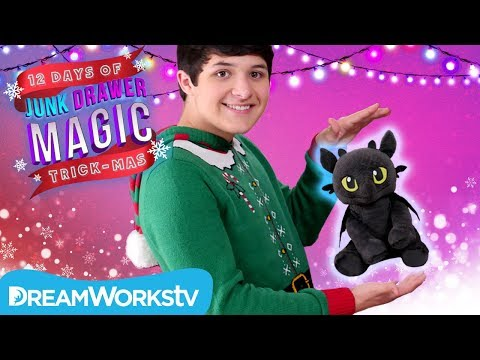 Flying Toothless Trick | JUNK DRAWER MAGIC 12 DAYS OF TRICKMAS SPONSORED BY HOW TO TRAIN YOUR DRAGON