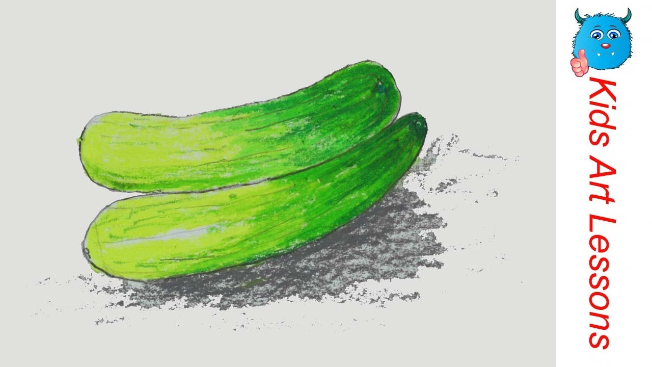 How to Draw Cucumbers Easy Step by Step Vegetables Drawing in ... for Drawing Cucumber  565ane