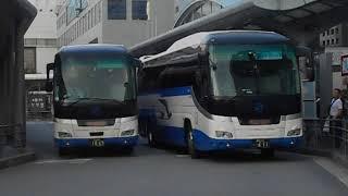 中国JRバス「出雲Exp.京都3号」と「青春昼特急広島3号」・京都駅前バス停を出発
