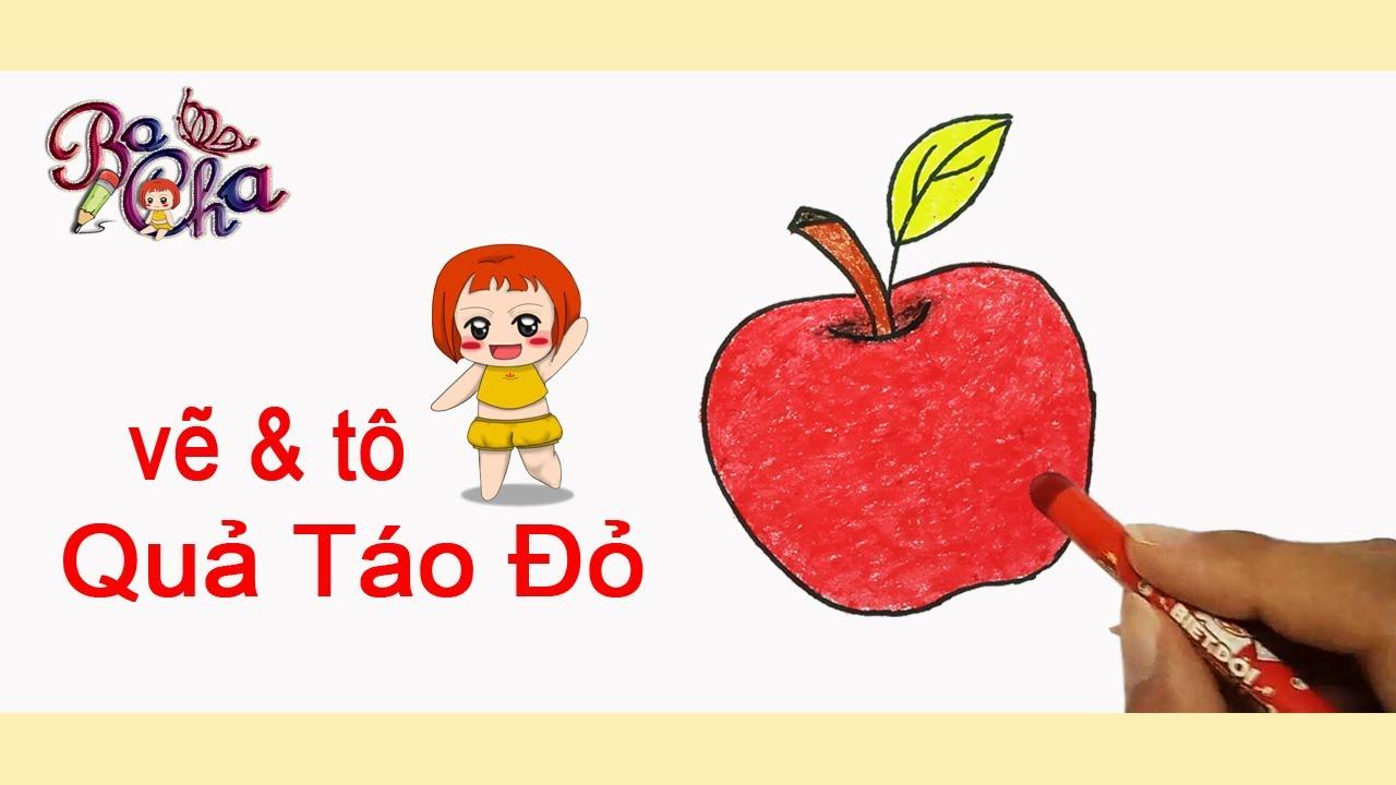 vẽ quả táo và tô màu -vẽ trái cây –  BoCha – how to draw apple