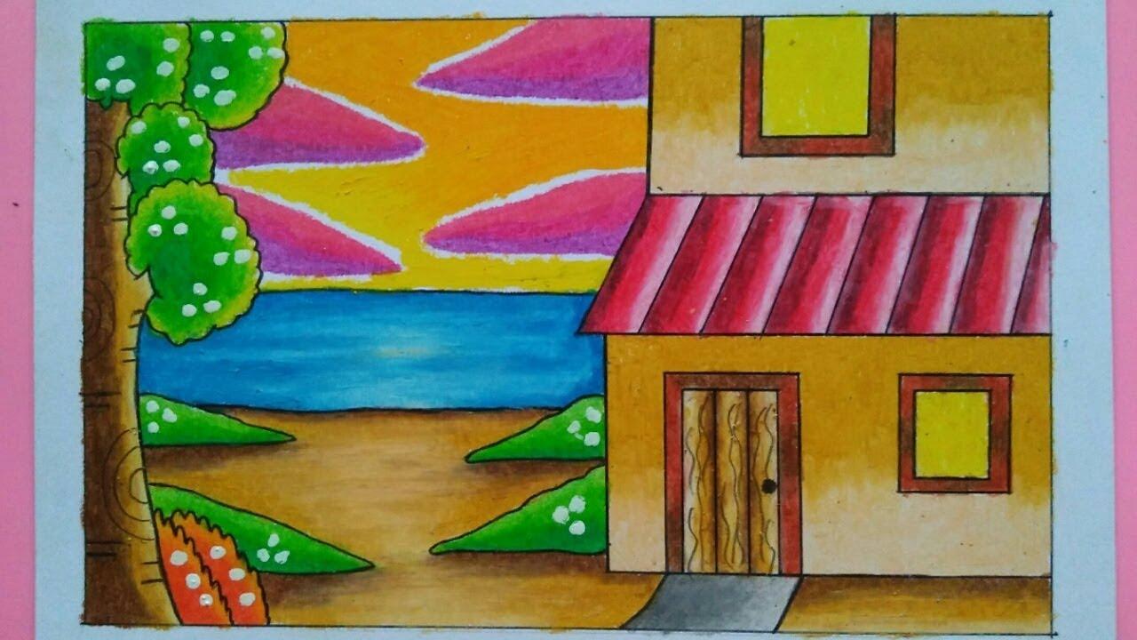Cara Menggambar Dan Mewarnai Pemandangan Rumah
