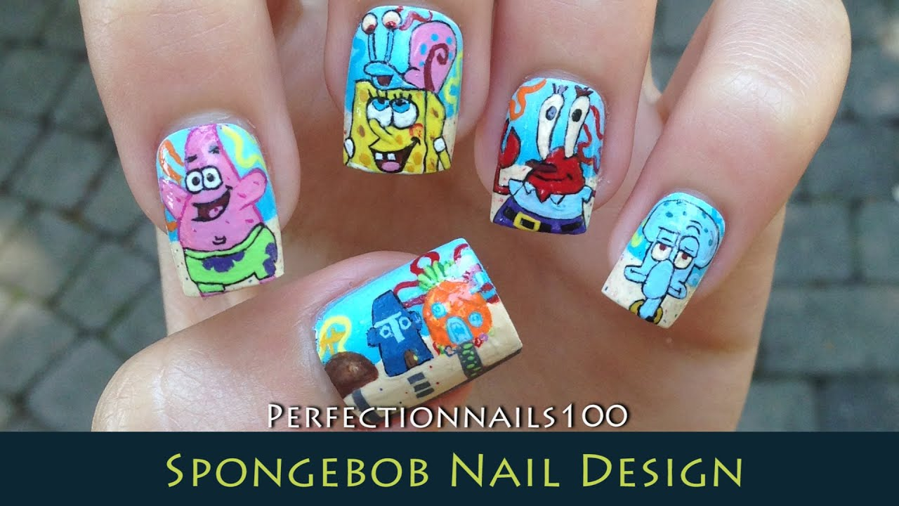 Nail Design Spongebob Art Tutorial Freehand