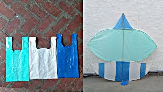 How to make a patang at home with plastic bag step by step