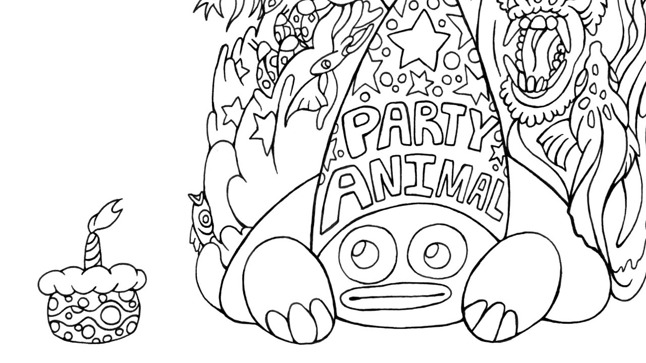 speed drawing turtle the party animal coloring page youtube. Black Bedroom Furniture Sets. Home Design Ideas