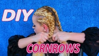 how to cornrow braid your own hair with hair extensions